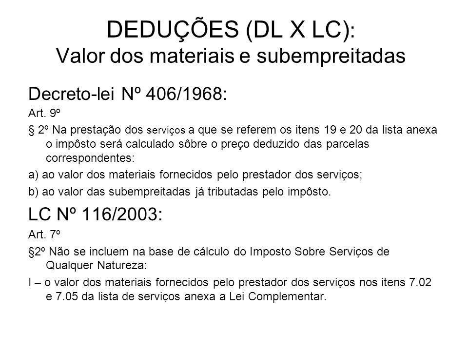 DEDUÇÕES (DL X LC): Valor dos materiais e subempreitadas