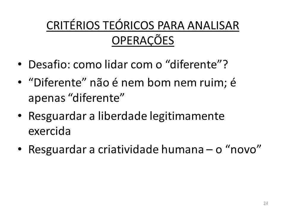 CRITÉRIOS TEÓRICOS PARA ANALISAR OPERAÇÕES