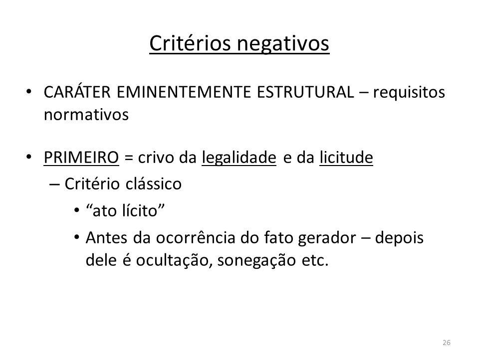 Critérios negativosCARÁTER EMINENTEMENTE ESTRUTURAL – requisitos normativos. PRIMEIRO = crivo da legalidade e da licitude.