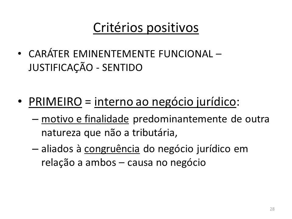Critérios positivos PRIMEIRO = interno ao negócio jurídico: