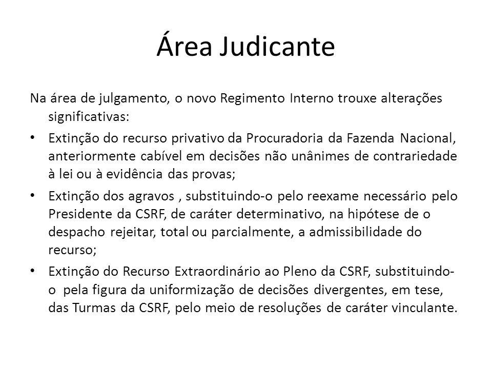 Área Judicante Na área de julgamento, o novo Regimento Interno trouxe alterações significativas: