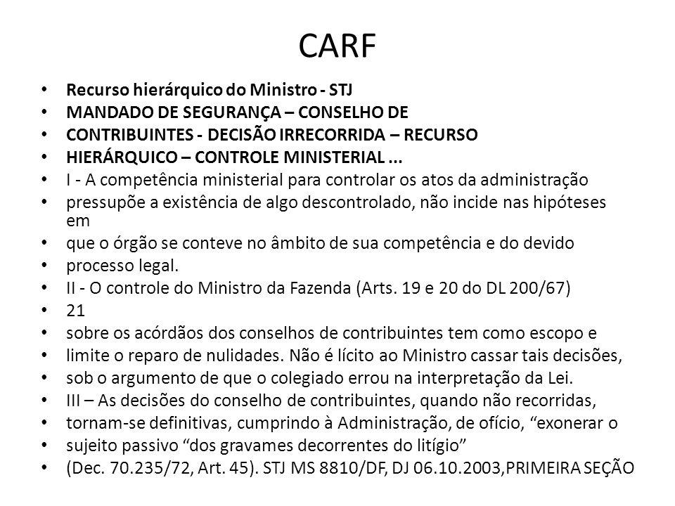CARF Recurso hierárquico do Ministro - STJ