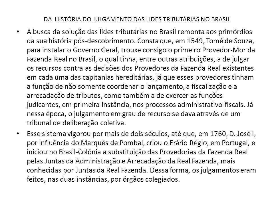 DA HISTÓRIA DO JULGAMENTO DAS LIDES TRIBUTÁRIAS NO BRASIL