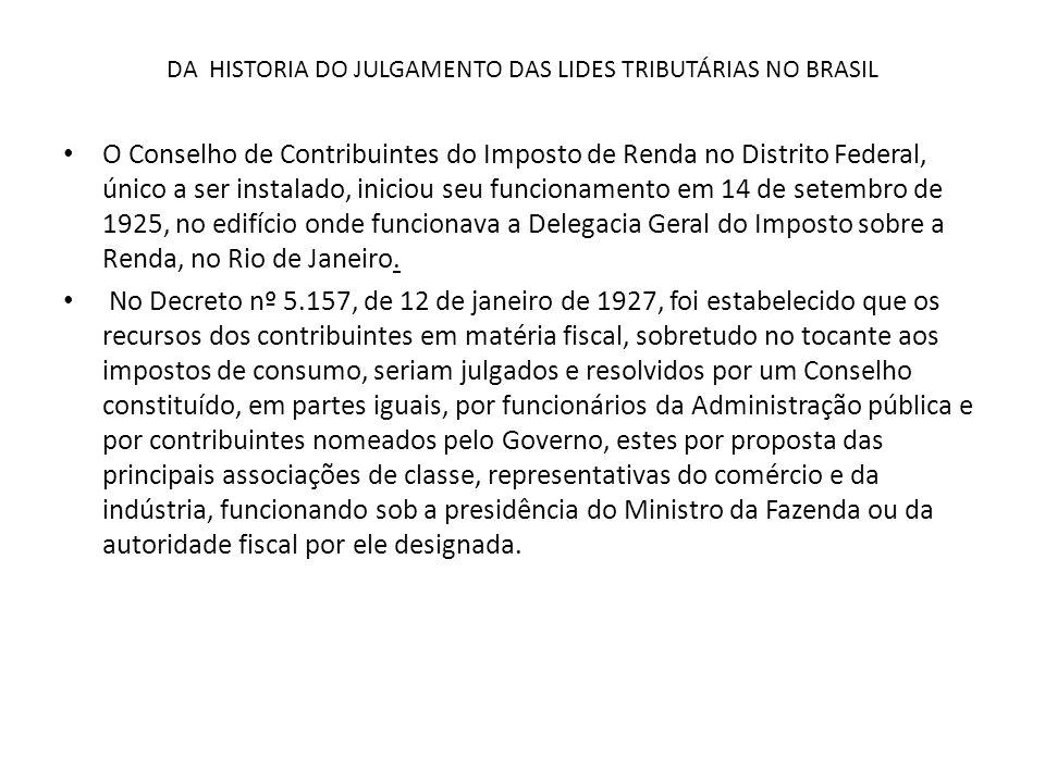 DA HISTORIA DO JULGAMENTO DAS LIDES TRIBUTÁRIAS NO BRASIL
