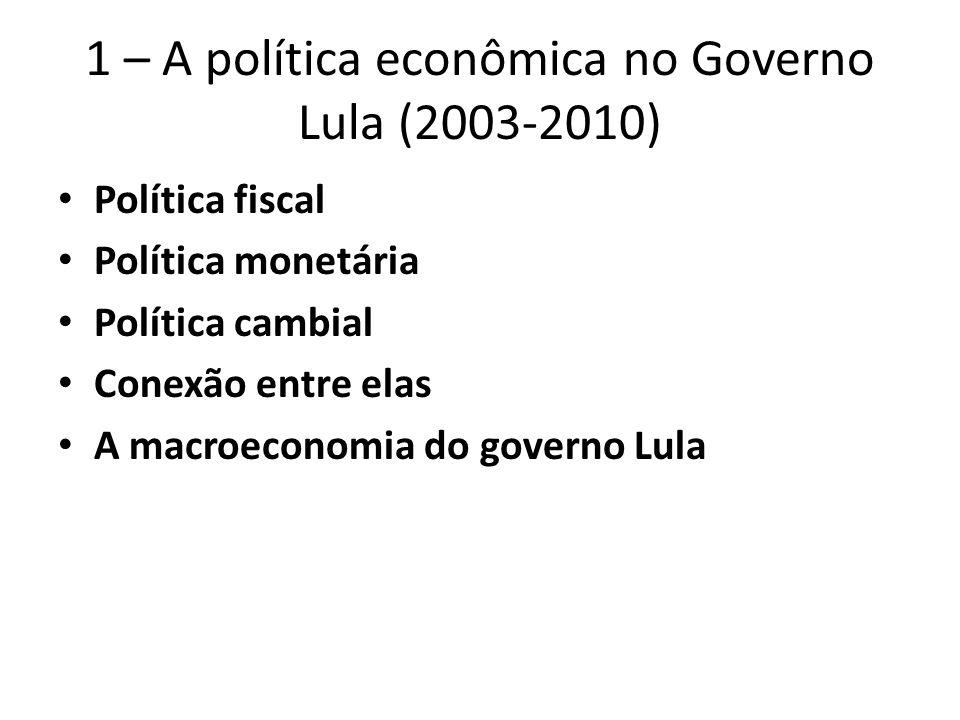 1 – A política econômica no Governo Lula (2003-2010)