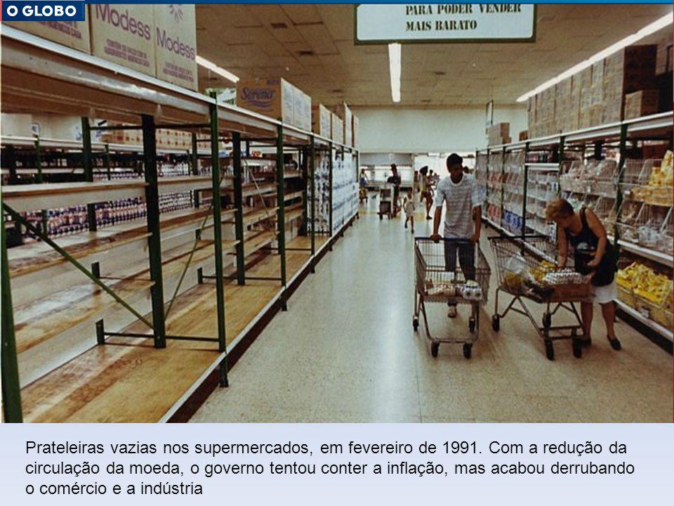 Prateleiras vazias nos supermercados, em fevereiro de 1991