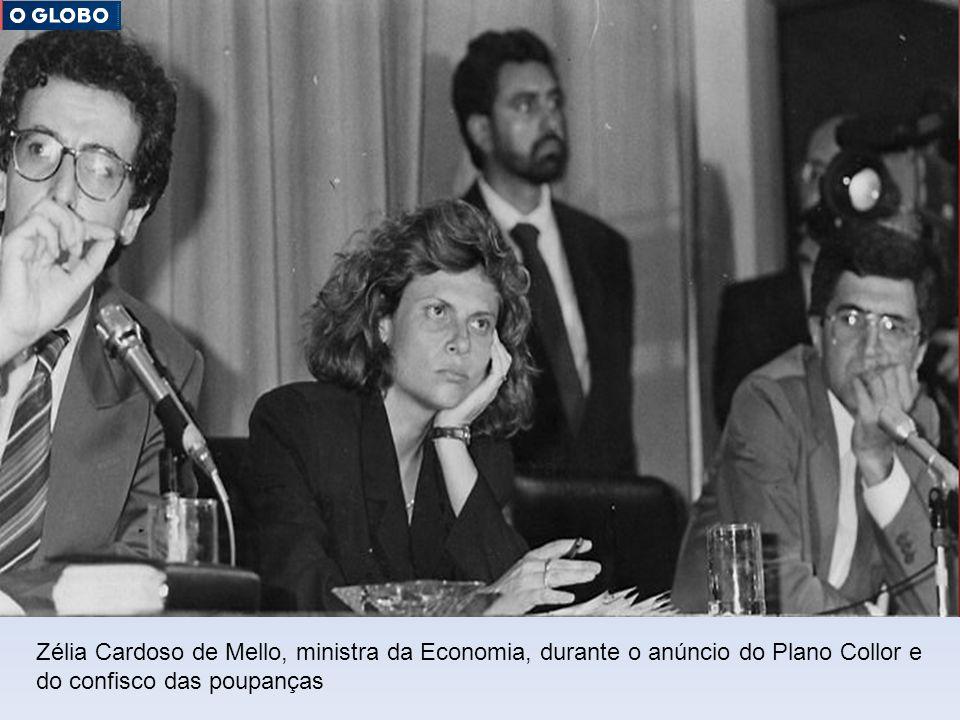 Zélia Cardoso de Mello, ministra da Economia, durante o anúncio do Plano Collor e do confisco das poupanças