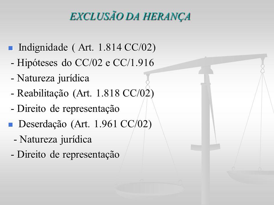EXCLUSÃO DA HERANÇA Indignidade ( Art. 1.814 CC/02)