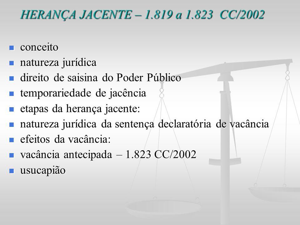 HERANÇA JACENTE – 1.819 a 1.823 CC/2002 conceito natureza jurídica