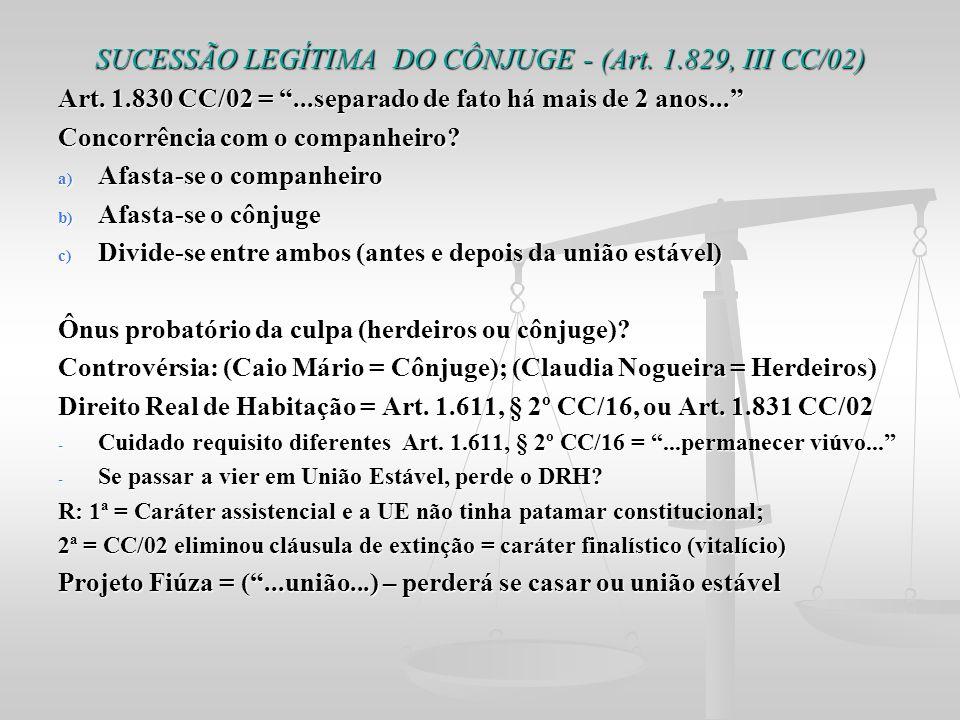 SUCESSÃO LEGÍTIMA DO CÔNJUGE - (Art. 1.829, III CC/02)