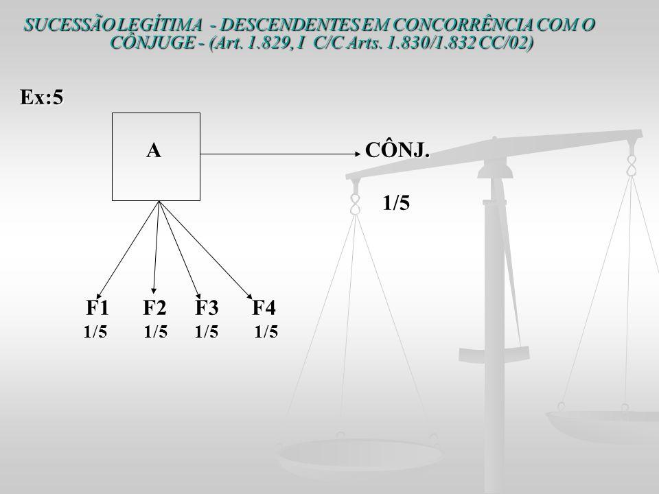 SUCESSÃO LEGÍTIMA - DESCENDENTES EM CONCORRÊNCIA COM O CÔNJUGE - (Art