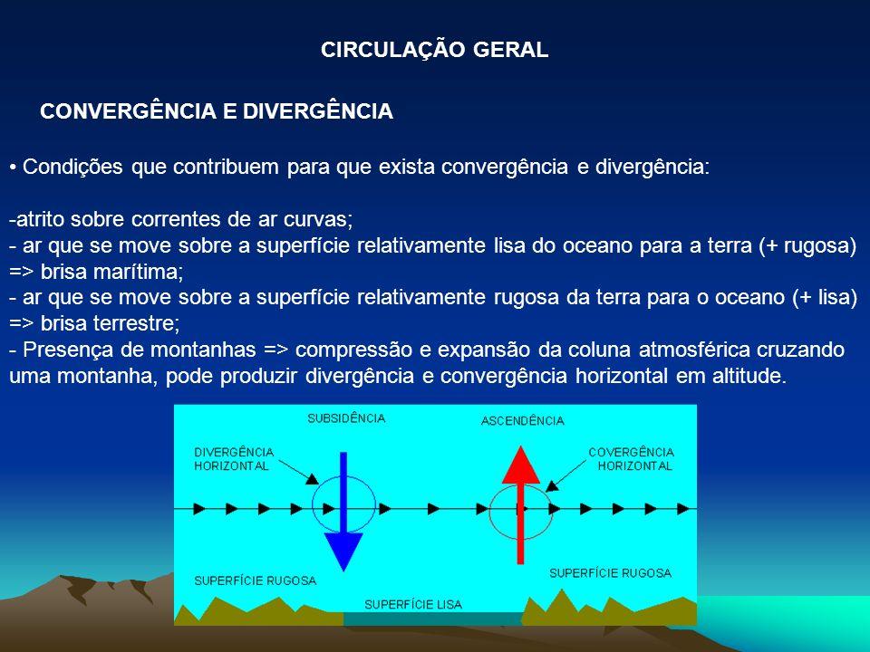 CIRCULAÇÃO GERAL CONVERGÊNCIA E DIVERGÊNCIA. Condições que contribuem para que exista convergência e divergência: