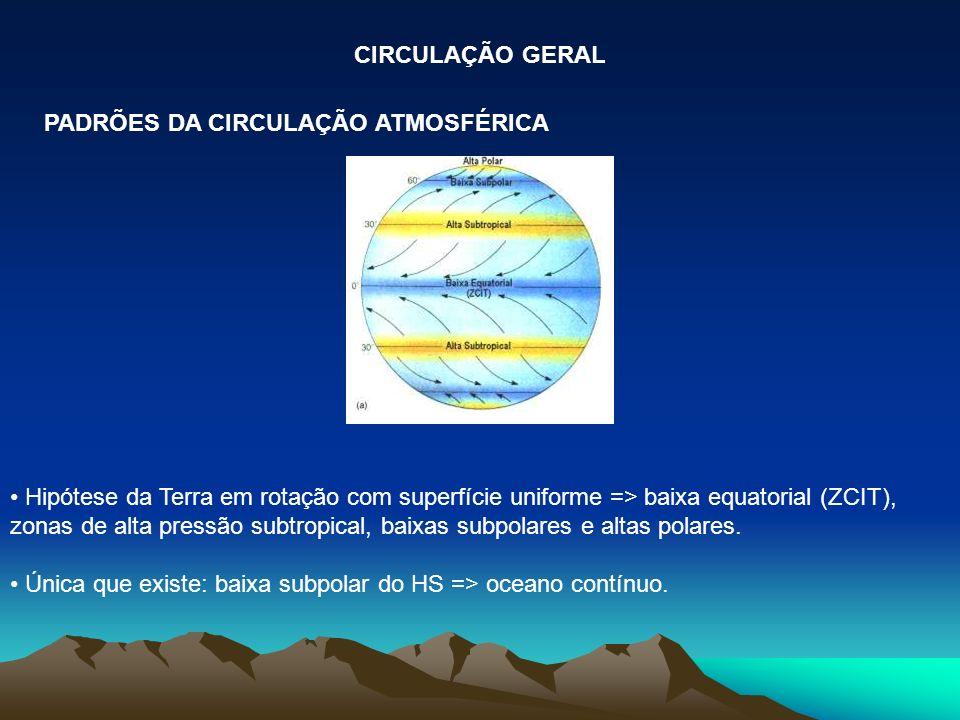 CIRCULAÇÃO GERAL PADRÕES DA CIRCULAÇÃO ATMOSFÉRICA.