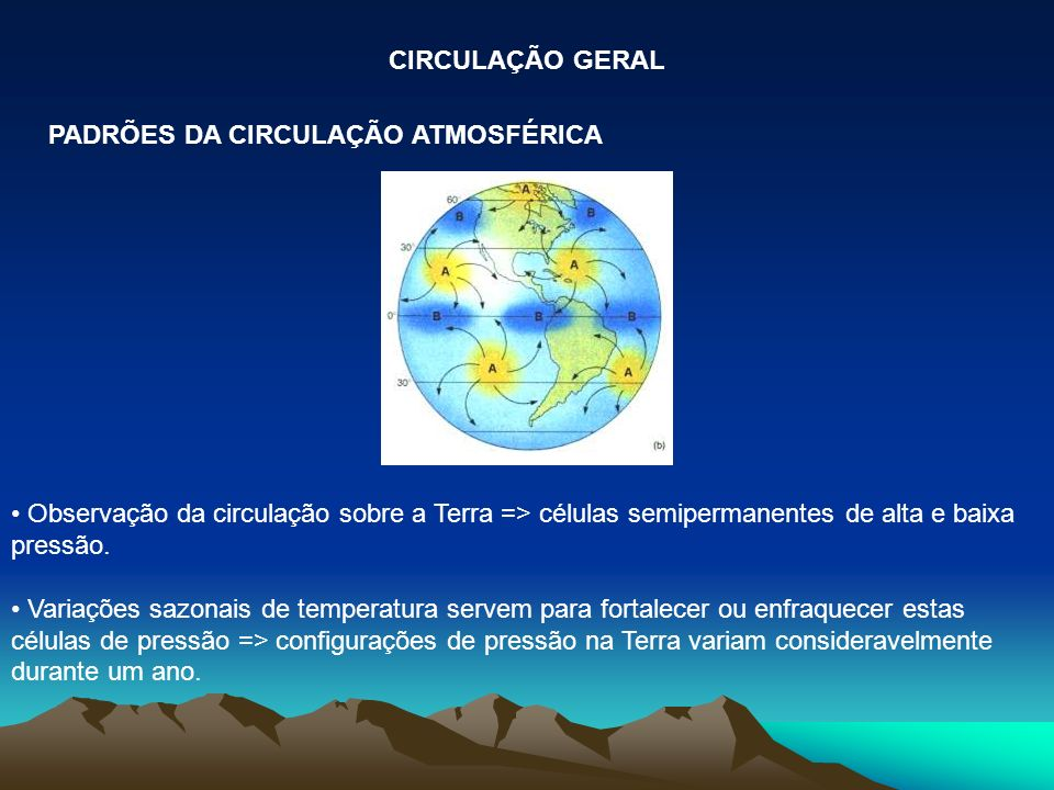 CIRCULAÇÃO GERAL PADRÕES DA CIRCULAÇÃO ATMOSFÉRICA. Observação da circulação sobre a Terra => células semipermanentes de alta e baixa pressão.