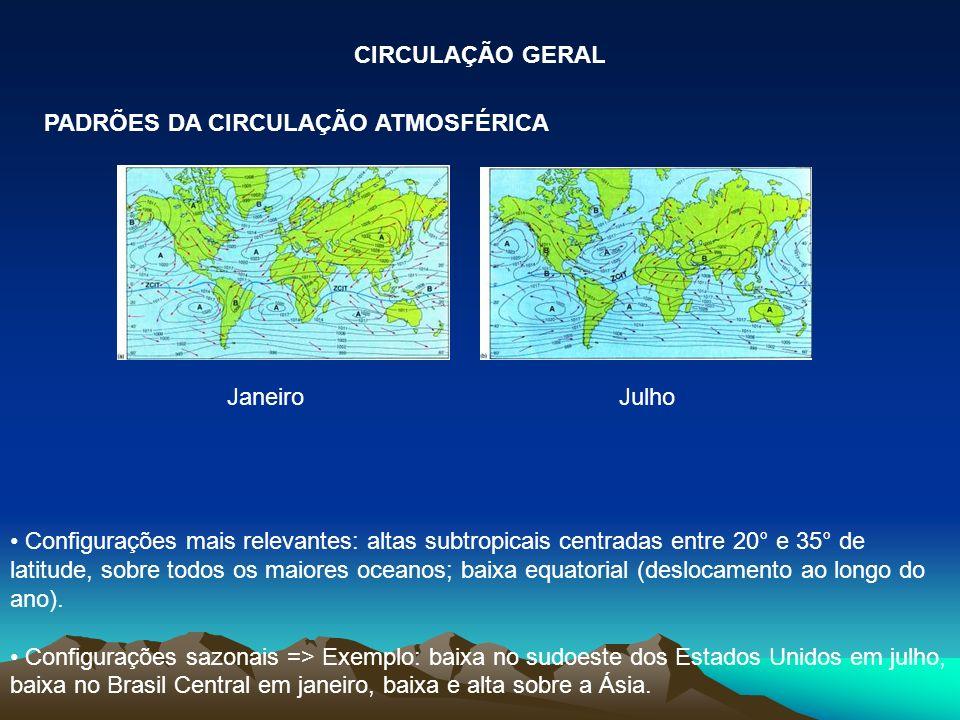 CIRCULAÇÃO GERAL PADRÕES DA CIRCULAÇÃO ATMOSFÉRICA. Janeiro Julho.