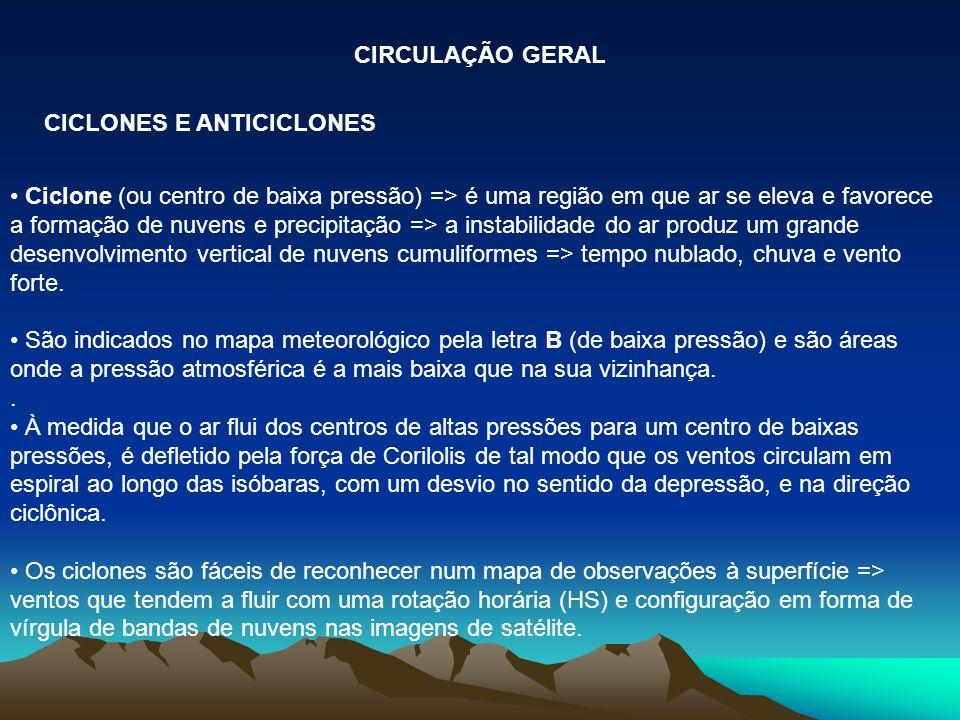 CIRCULAÇÃO GERAL CICLONES E ANTICICLONES.