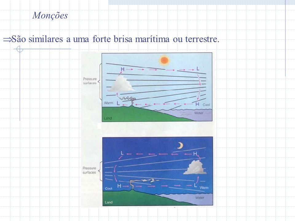 Monções São similares a uma forte brisa marítima ou terrestre.