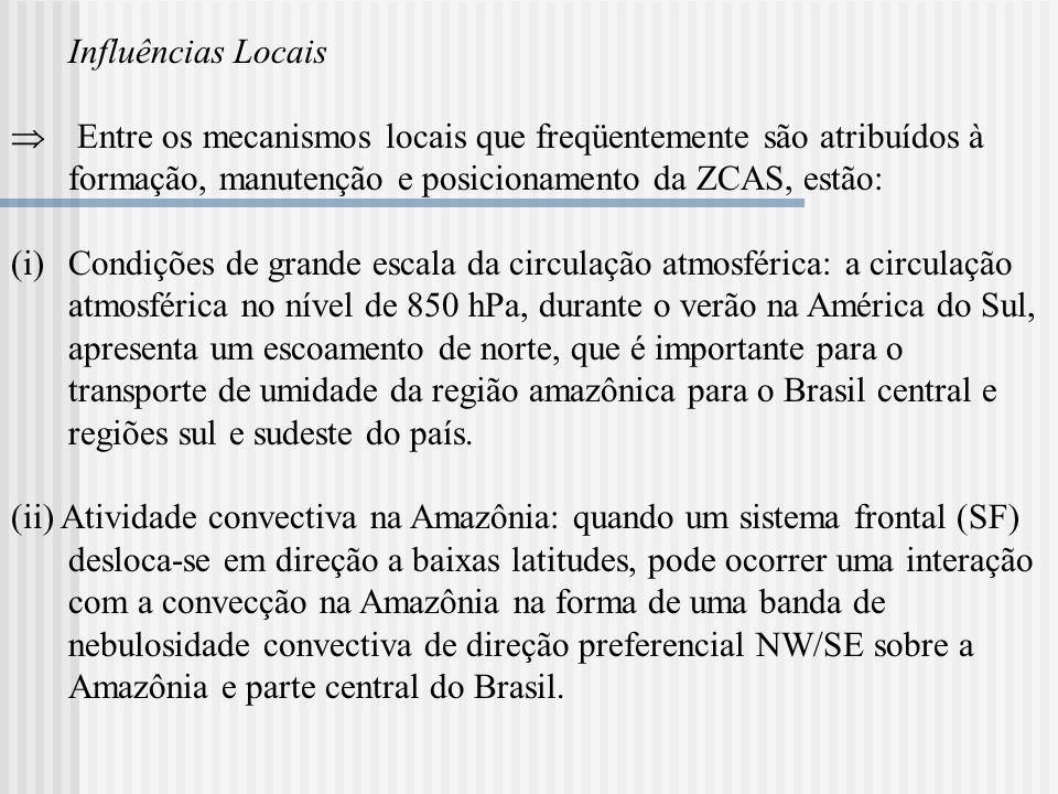 Influências Locais Entre os mecanismos locais que freqüentemente são atribuídos à formação, manutenção e posicionamento da ZCAS, estão: