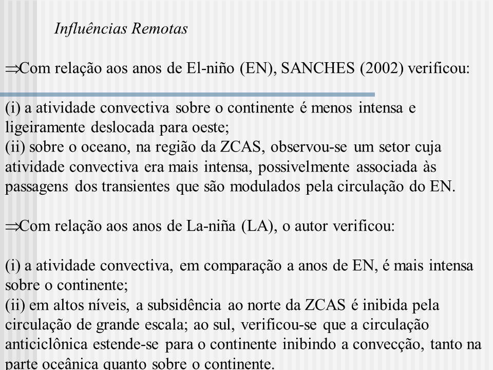 Influências Remotas Com relação aos anos de El-niño (EN), SANCHES (2002) verificou: