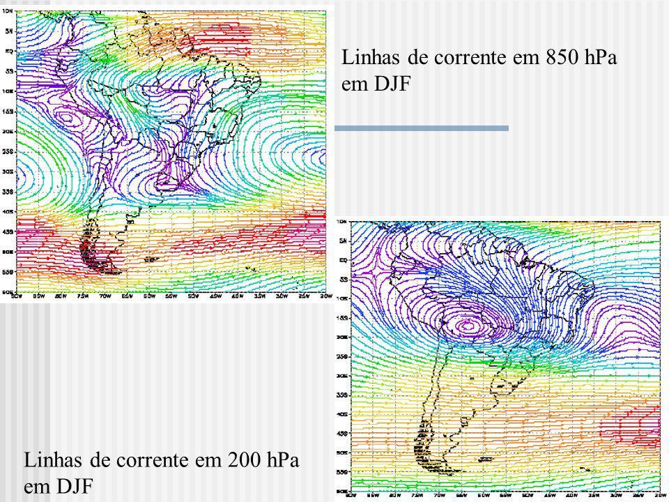 Linhas de corrente em 850 hPa em DJF