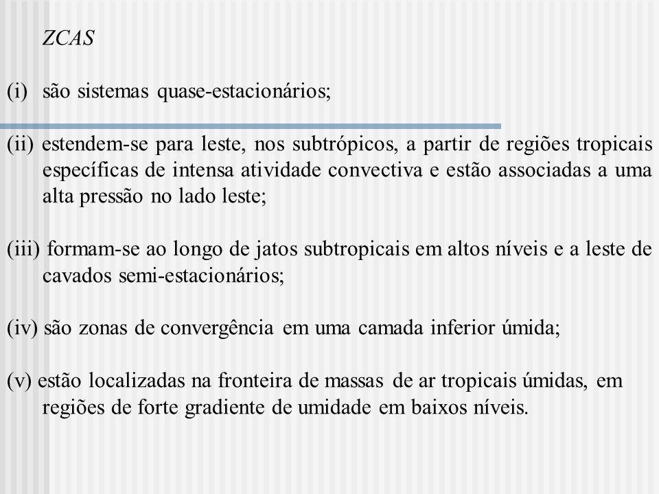 ZCAS são sistemas quase-estacionários;