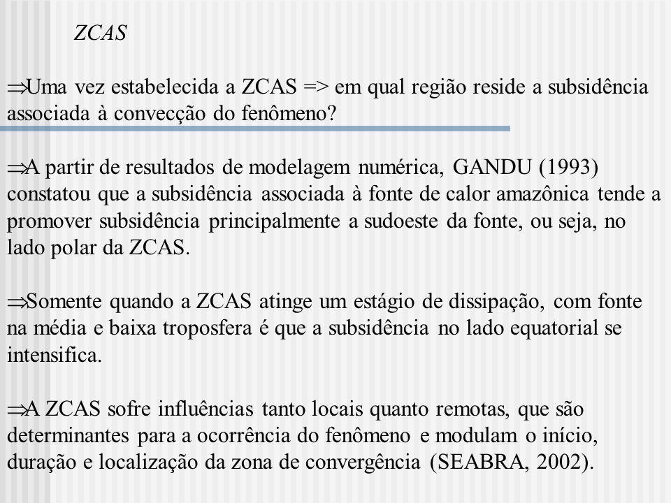 ZCAS Uma vez estabelecida a ZCAS => em qual região reside a subsidência associada à convecção do fenômeno