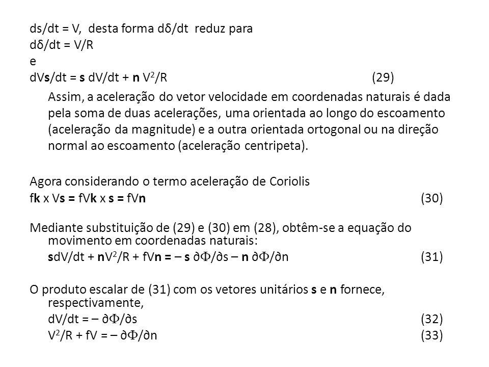 ds/dt = V, desta forma dδ/dt reduz para