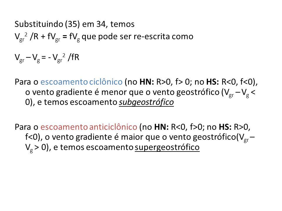 Substituindo (35) em 34, temos Vgr2 /R + fVgr = fVg que pode ser re-escrita como Vgr – Vg = - Vgr2 /fR Para o escoamento ciclônico (no HN: R>0, f> 0; no HS: R<0, f<0), o vento gradiente é menor que o vento geostrófico (Vgr – Vg < 0), e temos escoamento subgeostrófico Para o escoamento anticiclônico (no HN: R<0, f>0; no HS: R>0, f<0), o vento gradiente é maior que o vento geostrófico(Vgr – Vg > 0), e temos escoamento supergeostrófico