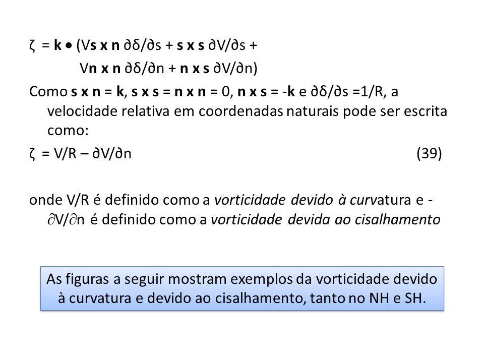 ζ = k  (Vs x n ∂δ/∂s + s x s ∂V/∂s + Vn x n ∂δ/∂n + n x s ∂V/∂n) Como s x n = k, s x s = n x n = 0, n x s = -k e ∂δ/∂s =1/R, a velocidade relativa em coordenadas naturais pode ser escrita como: ζ = V/R – ∂V/∂n (39) onde V/R é definido como a vorticidade devido à curvatura e -V/n é definido como a vorticidade devida ao cisalhamento