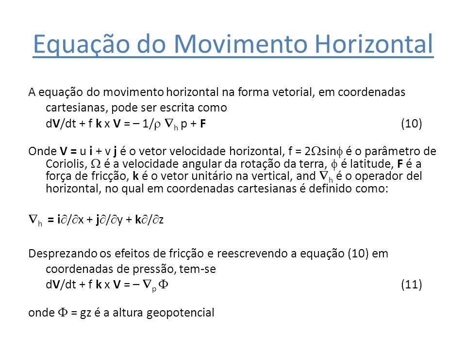 Equação do Movimento Horizontal