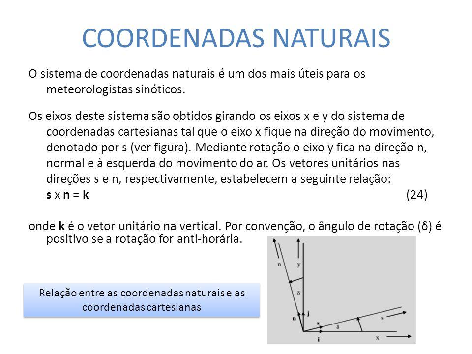 Relação entre as coordenadas naturais e as coordenadas cartesianas