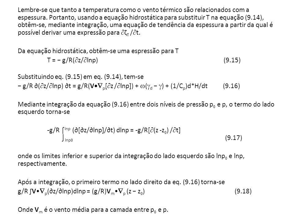 Lembre-se que tanto a temperatura como o vento térmico são relacionados com a espessura.