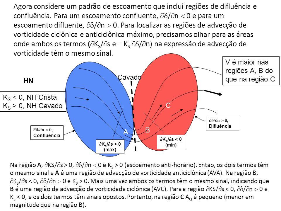 V é maior nas regiões A, B do que na região C