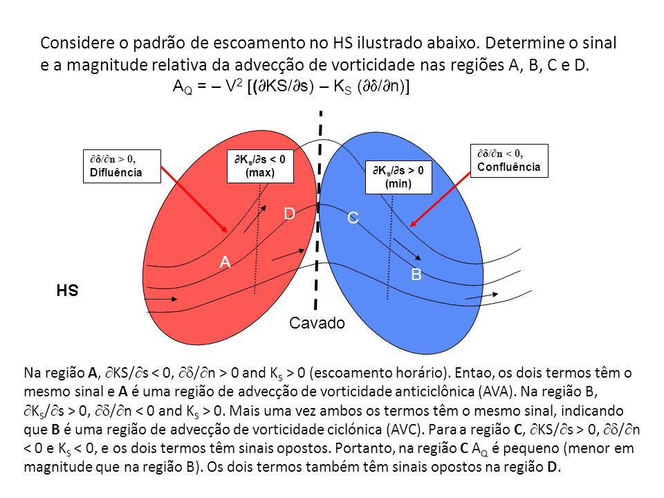 Considere o padrão de escoamento no HS ilustrado abaixo