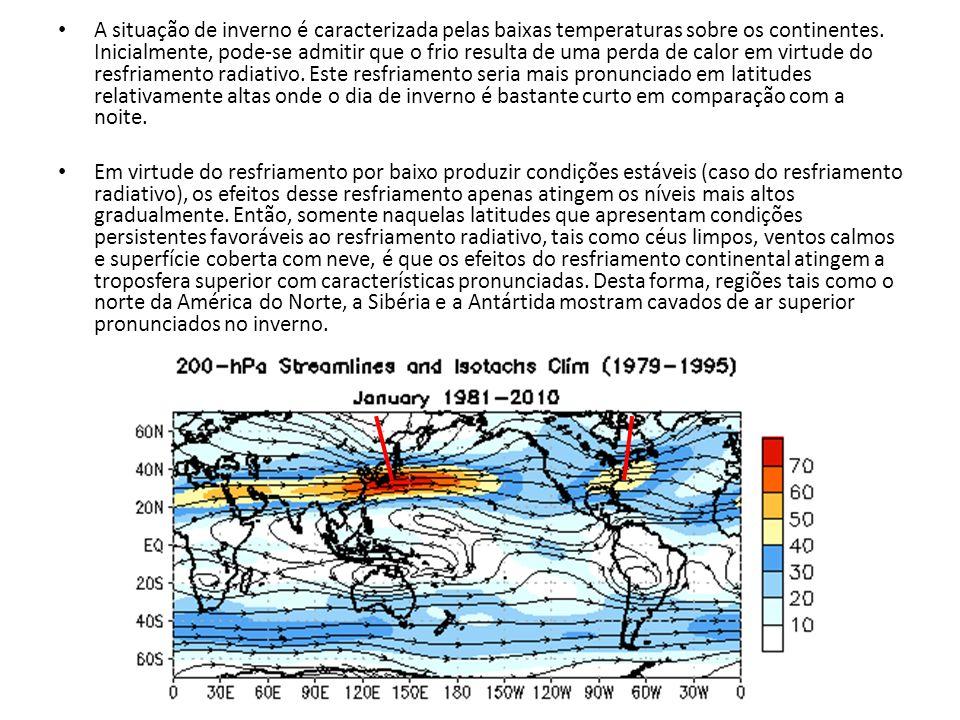 A situação de inverno é caracterizada pelas baixas temperaturas sobre os continentes. Inicialmente, pode-se admitir que o frio resulta de uma perda de calor em virtude do resfriamento radiativo. Este resfriamento seria mais pronunciado em latitudes relativamente altas onde o dia de inverno é bastante curto em comparação com a noite.