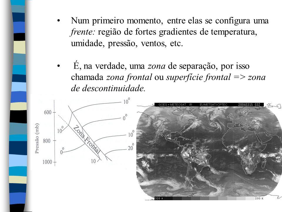 Num primeiro momento, entre elas se configura uma frente: região de fortes gradientes de temperatura, umidade, pressão, ventos, etc.