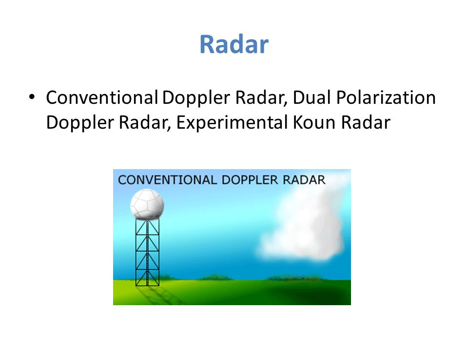 Radar Conventional Doppler Radar, Dual Polarization Doppler Radar, Experimental Koun Radar
