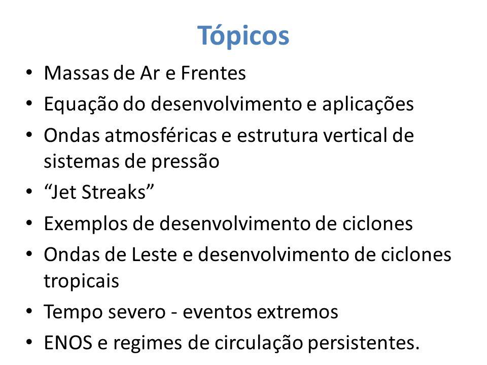 Tópicos Massas de Ar e Frentes Equação do desenvolvimento e aplicações
