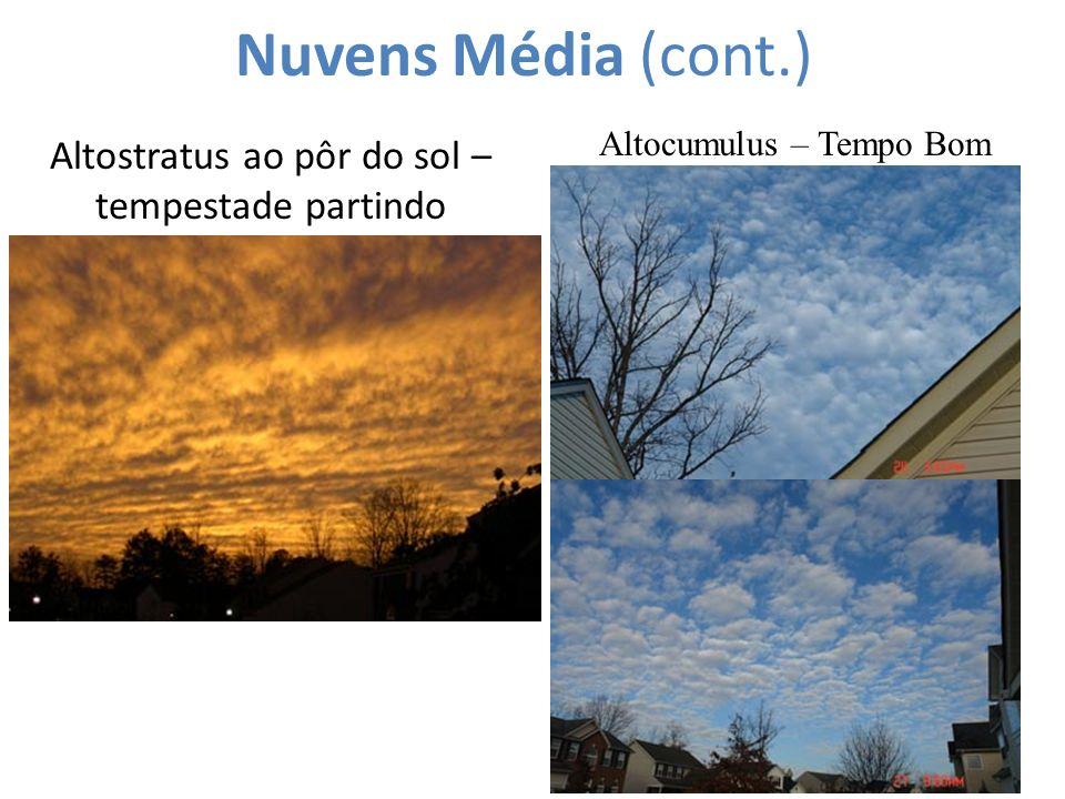 Nuvens Média (cont.) Altostratus ao pôr do sol – tempestade partindo