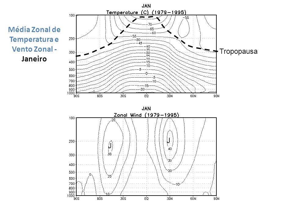 Média Zonal de Temperatura e Vento Zonal - Janeiro