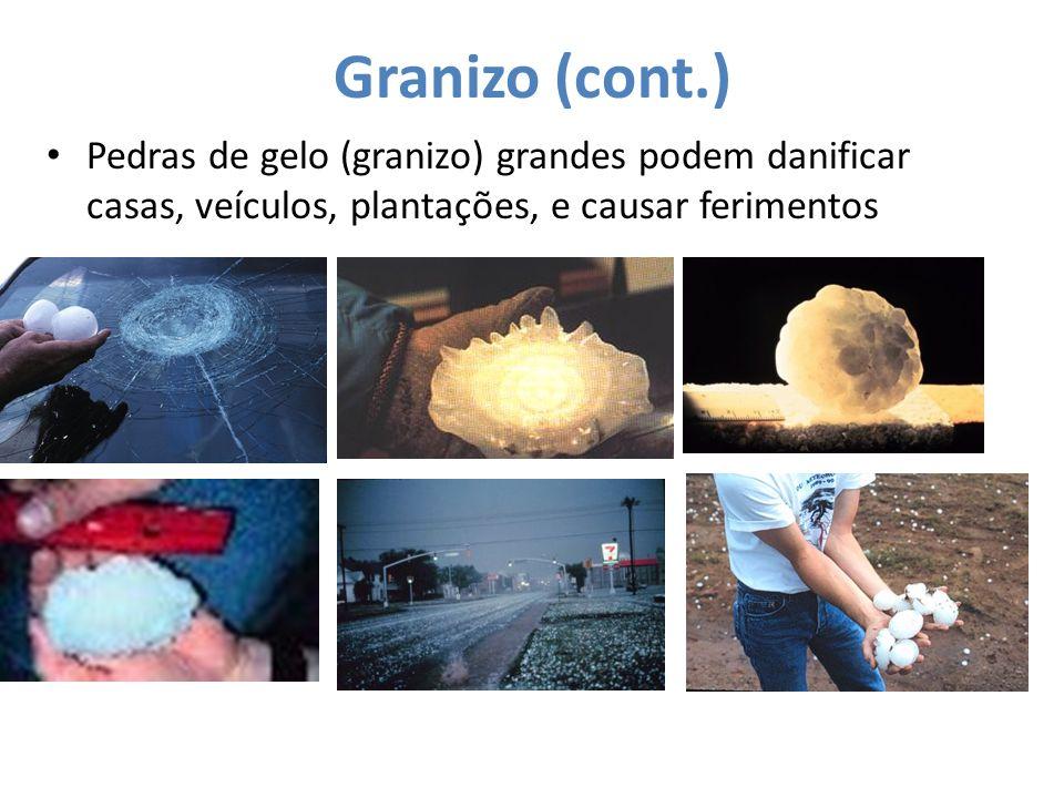 Granizo (cont.) Pedras de gelo (granizo) grandes podem danificar casas, veículos, plantações, e causar ferimentos.