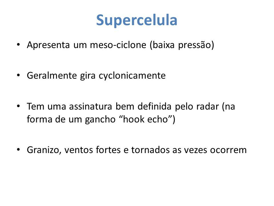 Supercelula Apresenta um meso-ciclone (baixa pressão)