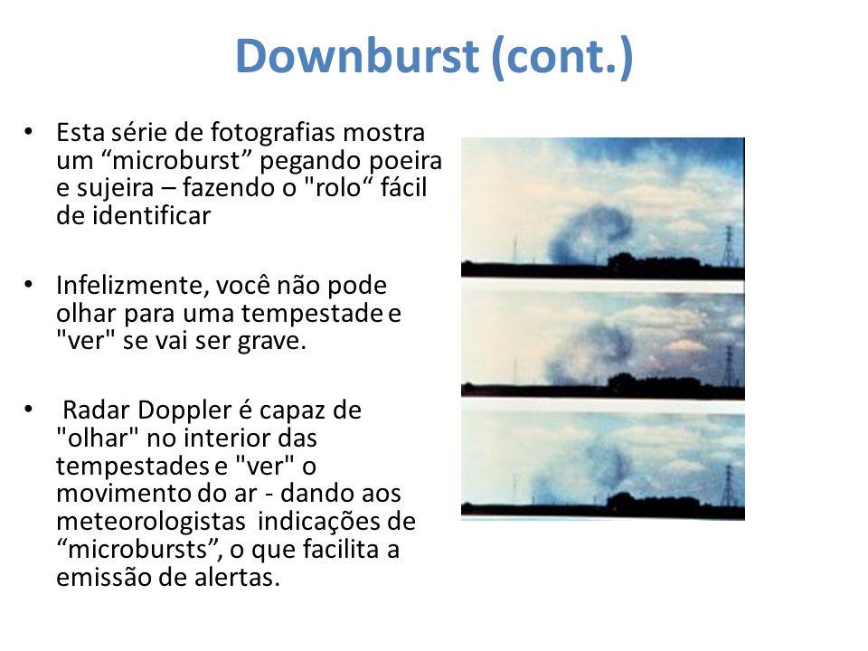 Downburst (cont.) Esta série de fotografias mostra um microburst pegando poeira e sujeira – fazendo o rolo fácil de identificar.