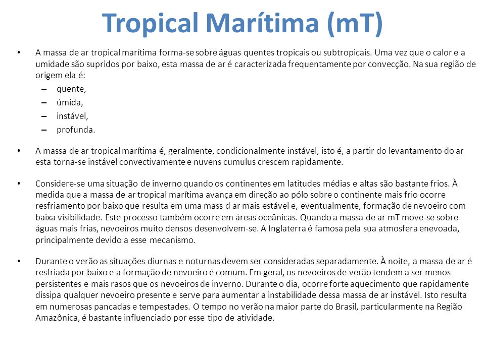 Tropical Marítima (mT)