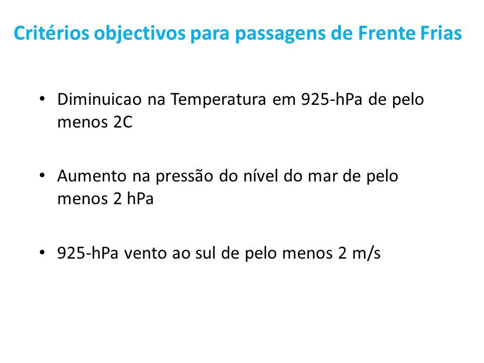 Critérios objectivos para passagens de Frente Frias