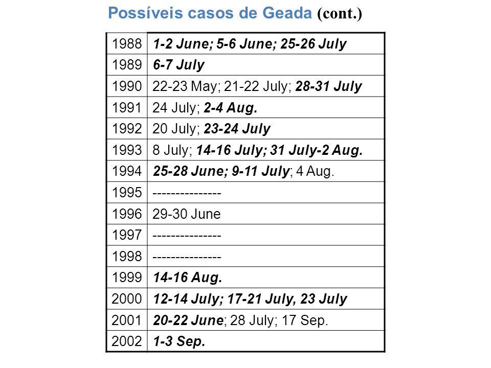 Possíveis casos de Geada (cont.)