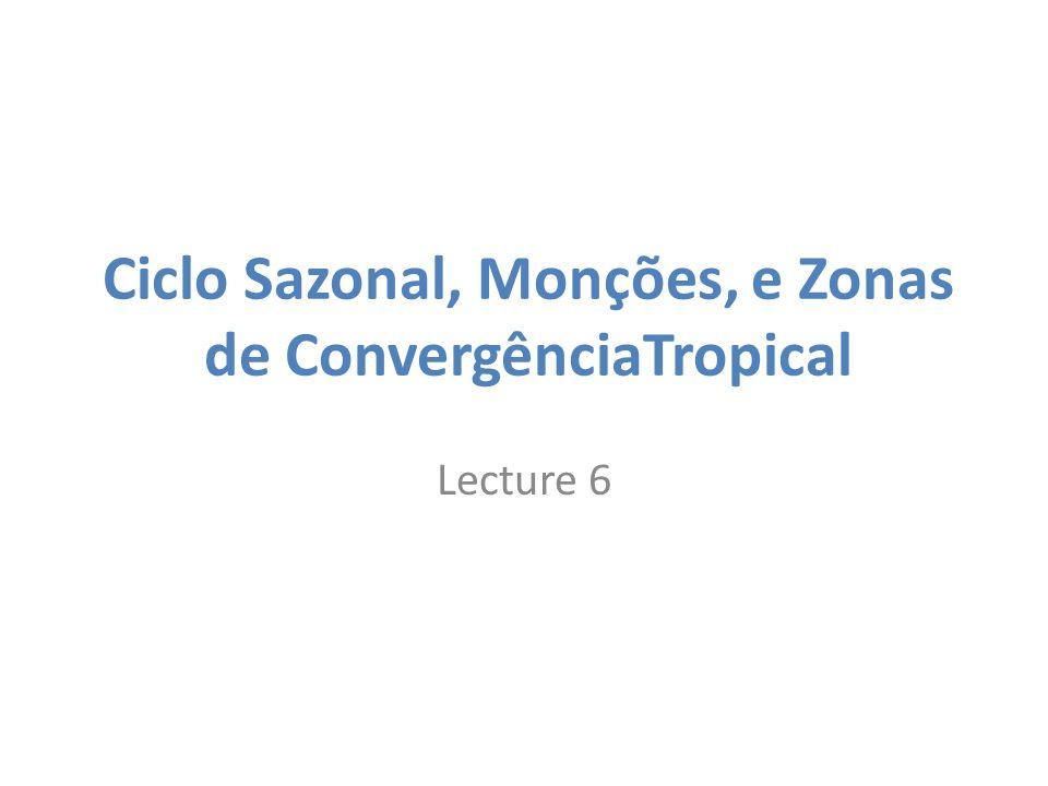 Ciclo Sazonal, Monções, e Zonas de ConvergênciaTropical