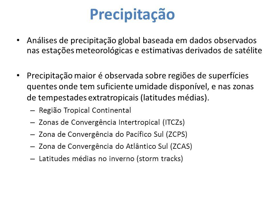 Precipitação Análises de precipitação global baseada em dados observados nas estações meteorológicas e estimativas derivados de satélite.