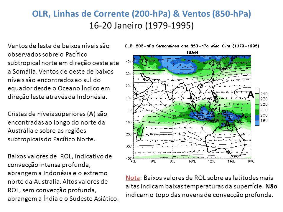 OLR, Linhas de Corrente (200-hPa) & Ventos (850-hPa) 16-20 Janeiro (1979-1995)
