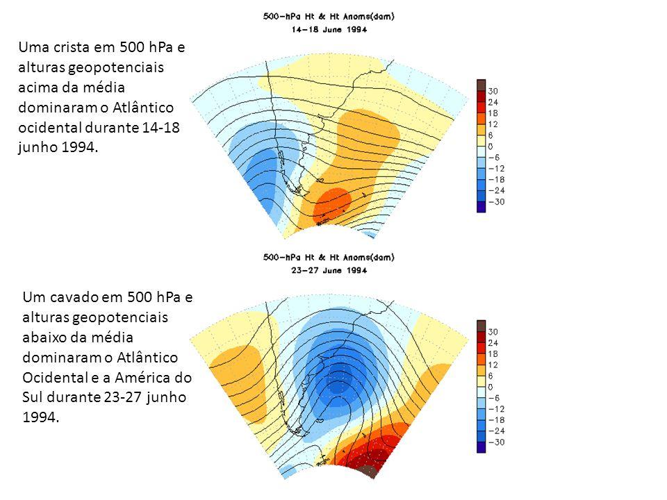 Uma crista em 500 hPa e alturas geopotenciais acima da média dominaram o Atlântico ocidental durante 14-18 junho 1994.